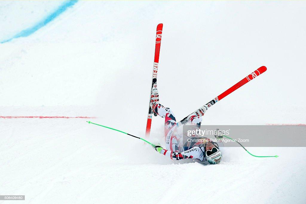 Otmar Striedinger of Austria competes during the Audi FIS Alpine Ski World Cup Men's Downhill on January 23 2016 in Kitzbuehel Austria