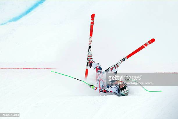 Otmar Striedinger of Austria competes during the Audi FIS Alpine Ski World Cup Men's Downhill on January 23 2016 in Kitzbuehel Austria