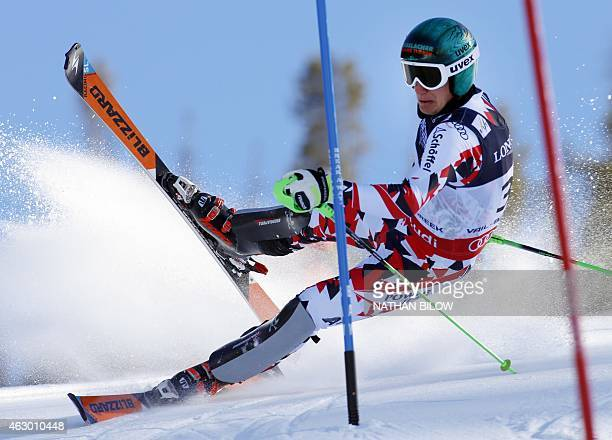 Otmar Striedinger of Austria falls during the 2015 World Alpine Ski Championships men's combinedslalom on February 8 2015 in Beaver Creek Colorado...