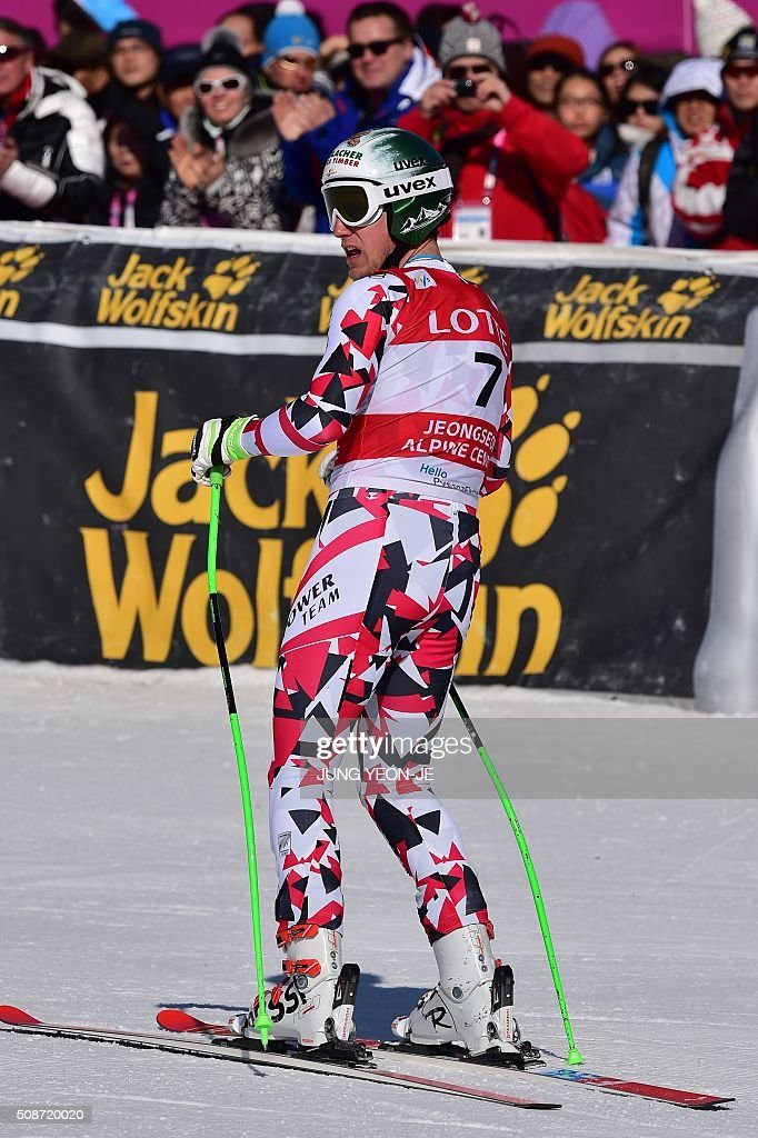 Otmar Striendinger of Austria arrives at the finish during the 8th men's downhill event of the FIS Alpine Ski World Cup at Jeongseon Alpine Centre in Jeongseon county, some 150km east of Seoul, on February 6, 2016. The FIS Ski Men's World Cup runs from February 6-7 and is the first official test event for the Pyeongchang 2018 Winter Olympics. AFP PHOTO / JUNG YEON-JE / AFP / JUNG YEON-JE