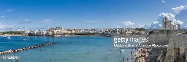 Otranto bay, the beach, the Cappella (chapel, church) della Madonna dell'Altomare and the old town