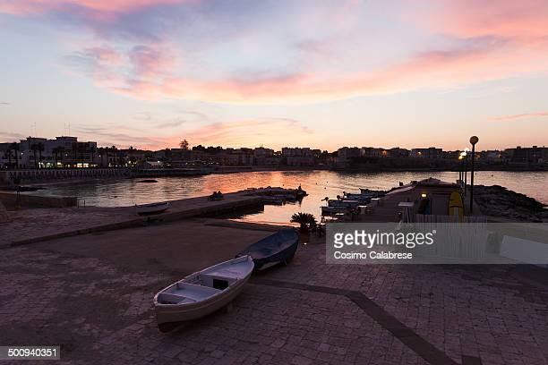 Otranto harbour at sunset