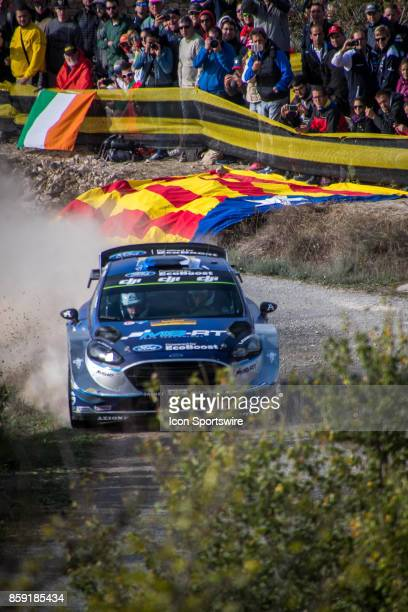 Ott Tanak and codriver Martin Jarveoja of MSport compete during the Savalla Stage of the Rally de Espana round of the 2017 FIA World Rally...