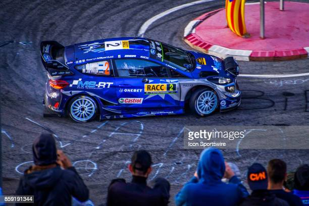 Ott Tanak and codriver Martin Jarveoja of MSport early morning run on the Riudecanyes Stage of the Rally de Espana round of the 2017 FIA World Rally...