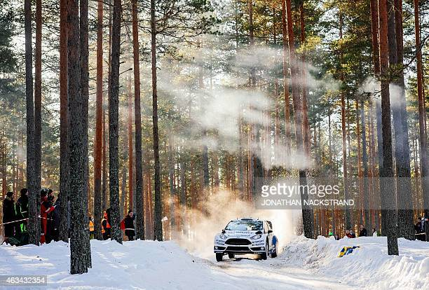 Ott Tanak of Estonia and his codriver Raigo Mlder steer their Ford Fiesta RS WRC during the 15th stage of the Rally Sweden second round of the FIA...