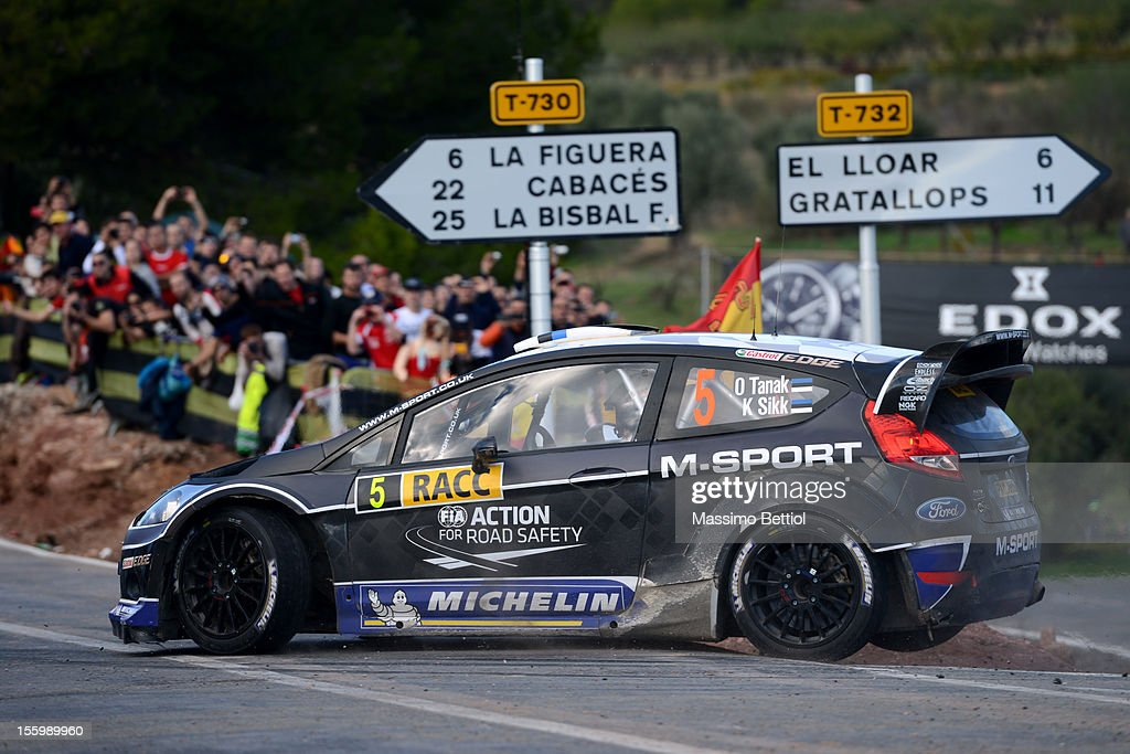 Ott Tanak of Estonia and Kuldar Sikk of Estonia compete in their M-Sport Ford WRT Ford Fiesta RS WRC during Day Two of the WRC Spain on November 10, 2012 in Salou , Spain.
