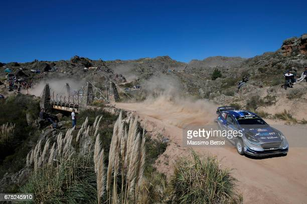 Ott Tanak of Estonia and Martin Jarveoja of Estonia compete in their MSport WRT Ford Fiesta WRC during Day Three of the WRC Argentina on April 30...