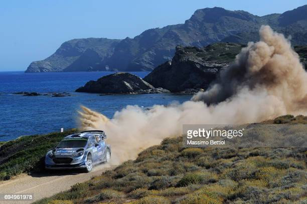 Ott Tanak of Estonia and Martin Jarveoja of Estonia compete in their MSport WRT Ford Fiesta WRC during Day Three of the WRC Italy on June 11 2017 in...