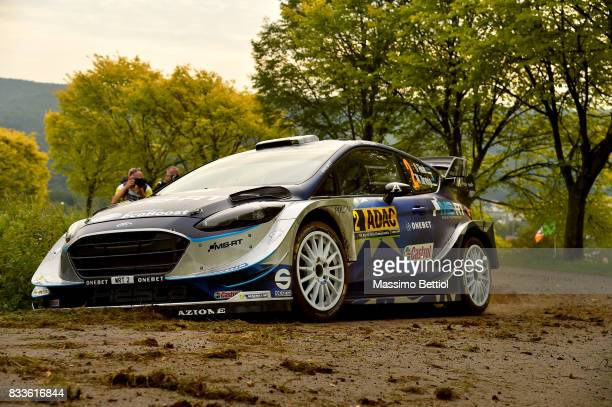 Ott Tanak of Estonia and Martin Jarveoja of Estonia compete in their MSport WRT Ford Fiesta WRC during the Shakedown of the WRC Germany on August 17...