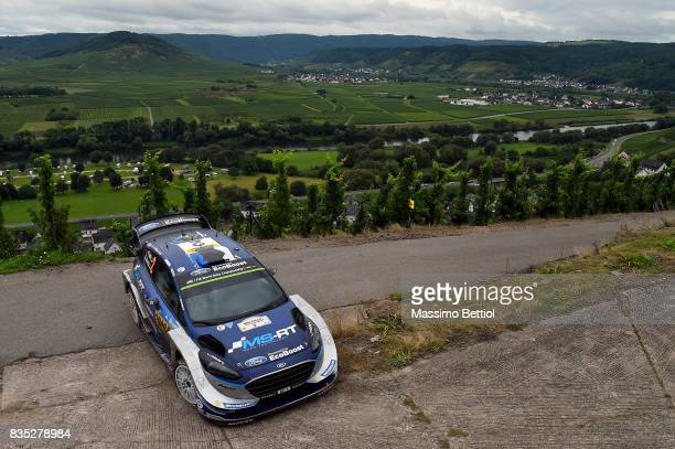 Ott Tanak of Estonia and Martin Jarveoja of Estonia compete in their MSport WRT Ford Fiesta WRC during Day One of the WRC Germany on August 18 2017...