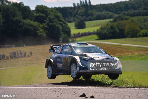 Ott Tanak of Estonia and Martin Jarveoja of Estonia compete in their MSport WRT Ford Fiesta WRC during Day Two of the WRC Germany on August 19 2017...
