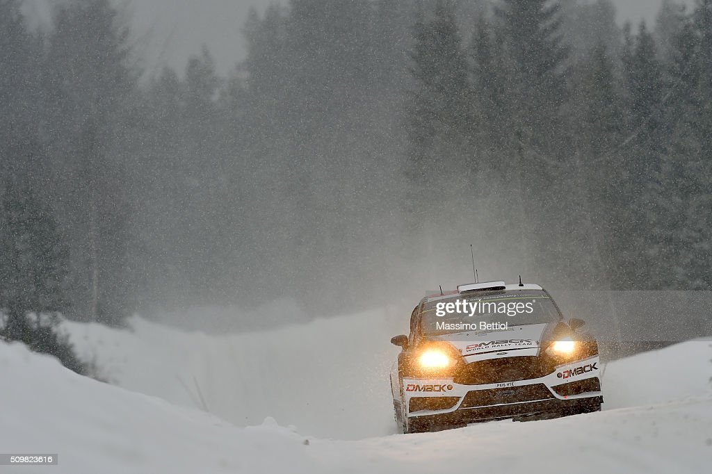 Ott Tanak of Estonia and Raigo Molder of Estonia compete in their DMACK WRT Ford Fiesta RS WRC during Day One of the WRC Sweden on February 12, 2016 in Karlstad, Sweden.