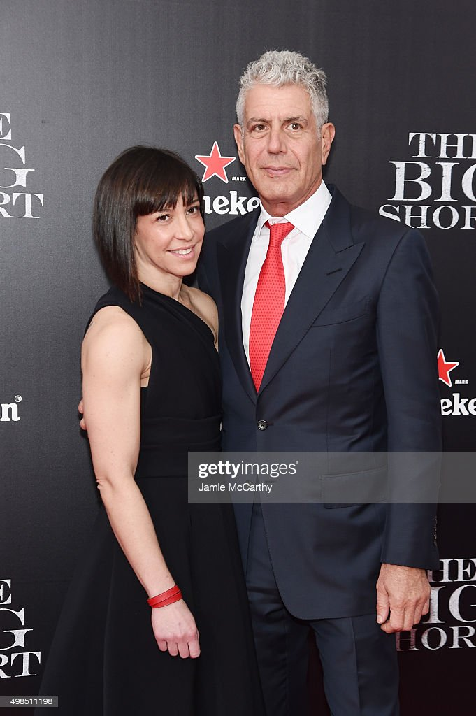 Ottavia Busia and Anthony Bourdain attend the premiere of 'The Big Short' at Ziegfeld Theatre on November 23, 2015 in New York City.