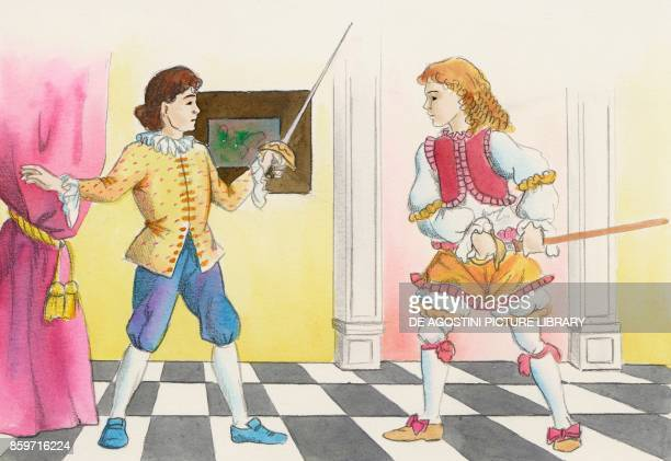 Ottavio and Flavio comedy with Harlequin children's illustration drawing