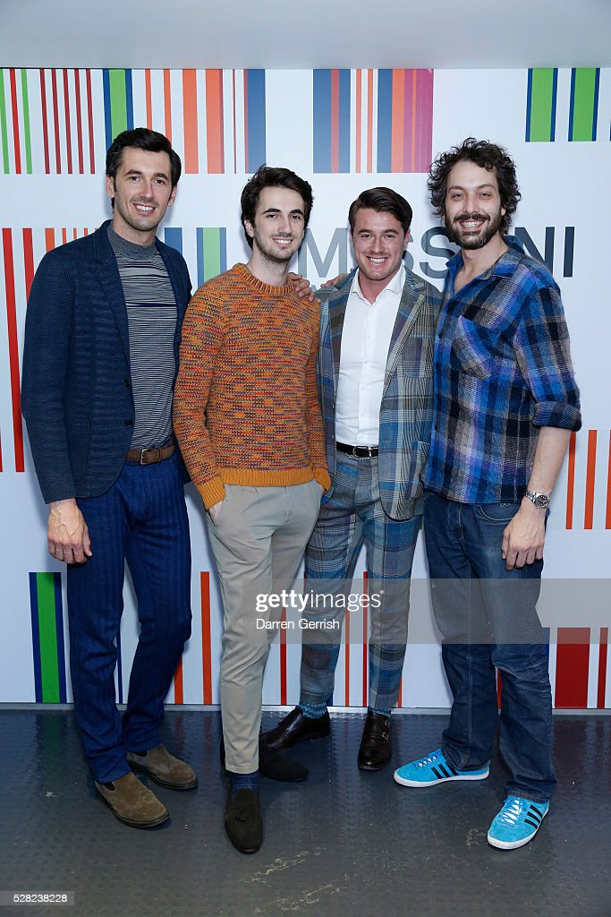Ottavio Missoni, Marco Missoni, Giacommo Missoni and Francesco Maccapani Missoni attend the Missoni Art Colour preview in partnership with Woolmark at The Fashion and Textile Museum on May 4, 2016 in London, England.