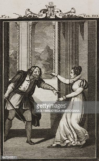 Ottavio weilding a sword orders Corallina to lower her gun engraving by Antonio Viviani from a drawing by C Rizzardini from The Vengeful Woman Act II...