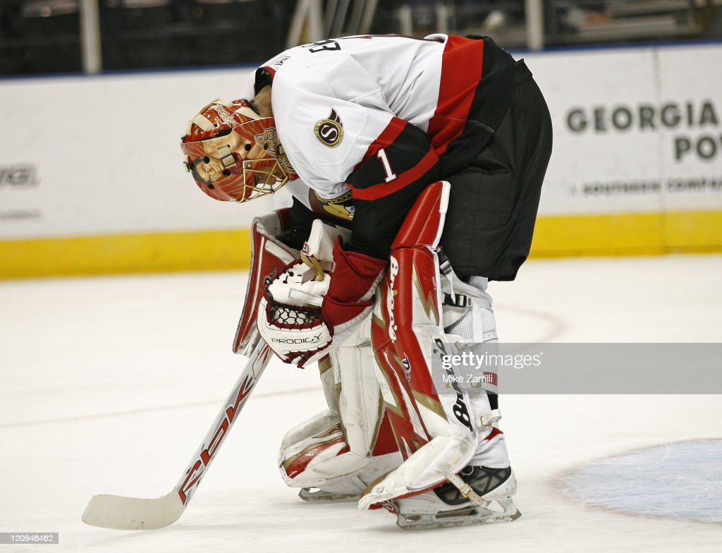 Ottawa goalie <a gi-track='captionPersonalityLinkClicked' href=/galleries/search?phrase=Ray+Emery&family=editorial&specificpeople=218109 ng-click='$event.stopPropagation()'>Ray Emery</a> during the game between the Atlanta Thrashers and the Ottawa Senators at Philips Arena in Atlanta, GA on March 2, 2007. The Thrashers beat the Senators 4-2.