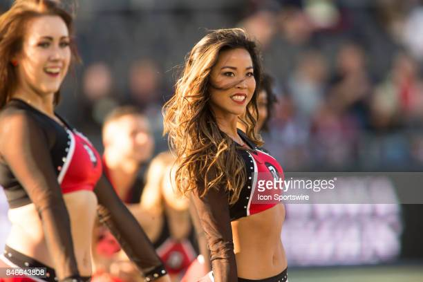 Ottawa Redblacks Cheerleaders performing before a game in Canadian Football League Action at TD Place Stadium in Ottawa Canada on Saturday September...