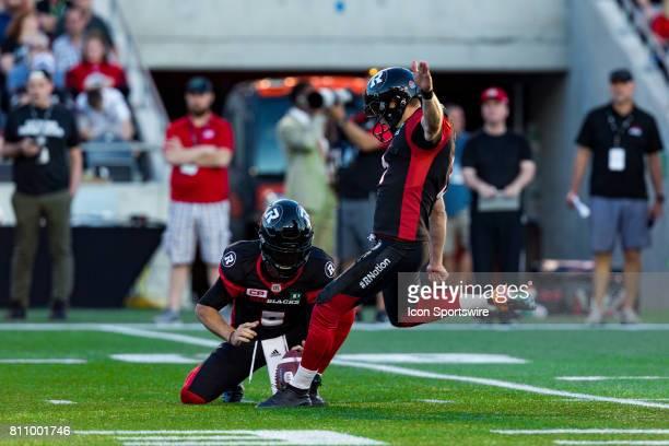 Ottawa RedBlacks kicker Brett Maher attempts to kick a field goal during Canadian Football League action between the Toronto Argonauts and Ottawa...