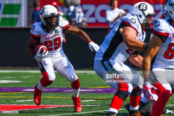 Ottawa Redblacks running back William Powell runs with the ball during the Ottawa RedBlacks versus the Montreal Alouettes game on September 17 at...