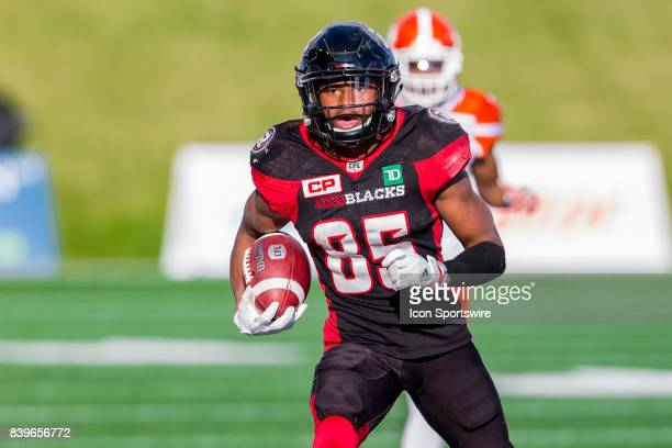 Ottawa RedBlacks wide receiver Diontae Spencer runs with the football during Canadian Football League action between BC Lions and Ottawa RedBlacks on...