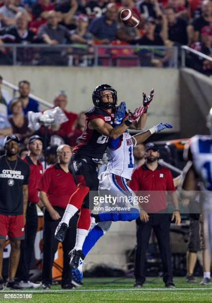 Ottawa RedBlacks wide receiver Greg Ellingson leaps up to make a catch during Canadian Football League action between Montreal Alouettes and Ottawa...