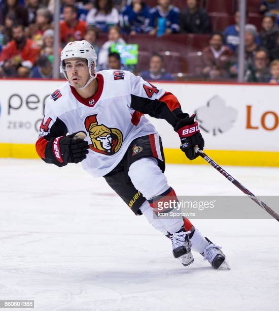 Ottawa Senators Center JeanGabriel Pageau against the Vancouver Canucks during a NHL hockey game on October 10 at Rogers Arena in Vancouver BC