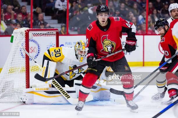 Ottawa Senators Center JeanGabriel Pageau sets up a screen in front of Pittsburgh Penguins Goalie Matt Murray during second period National Hockey...