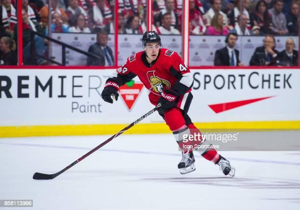 Ottawa Senators Center JeanGabriel Pageau skates during the NHL game between the Ottawa Senators and the Washington Capitals on Oct 5 2017 at the...