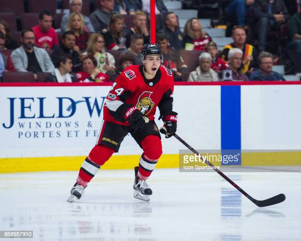 Ottawa Senators Center JeanGabriel Pageau skates during the NHL game between the Ottawa Senators and the Detroit Red Wings on Oct 7 2017 at the...