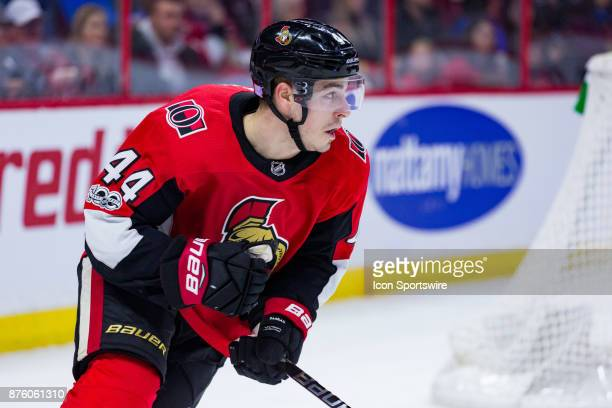 Ottawa Senators Center JeanGabriel Pageau skates out from behind the net during first period National Hockey League action between the Arizona...