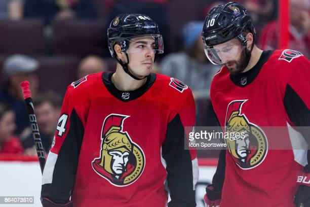 Ottawa Senators Center JeanGabriel Pageau talks to teammate Ottawa Senators Winger Tom Pyatt during third period National Hockey League action...