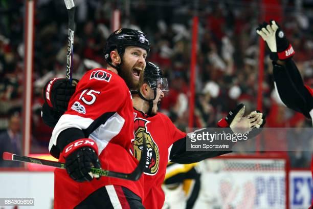 Ottawa Senators Center Zack Smith and Ottawa Senators Center JeanGabriel Pageau celebrate the Senators goal to make it 40 during the first period of...