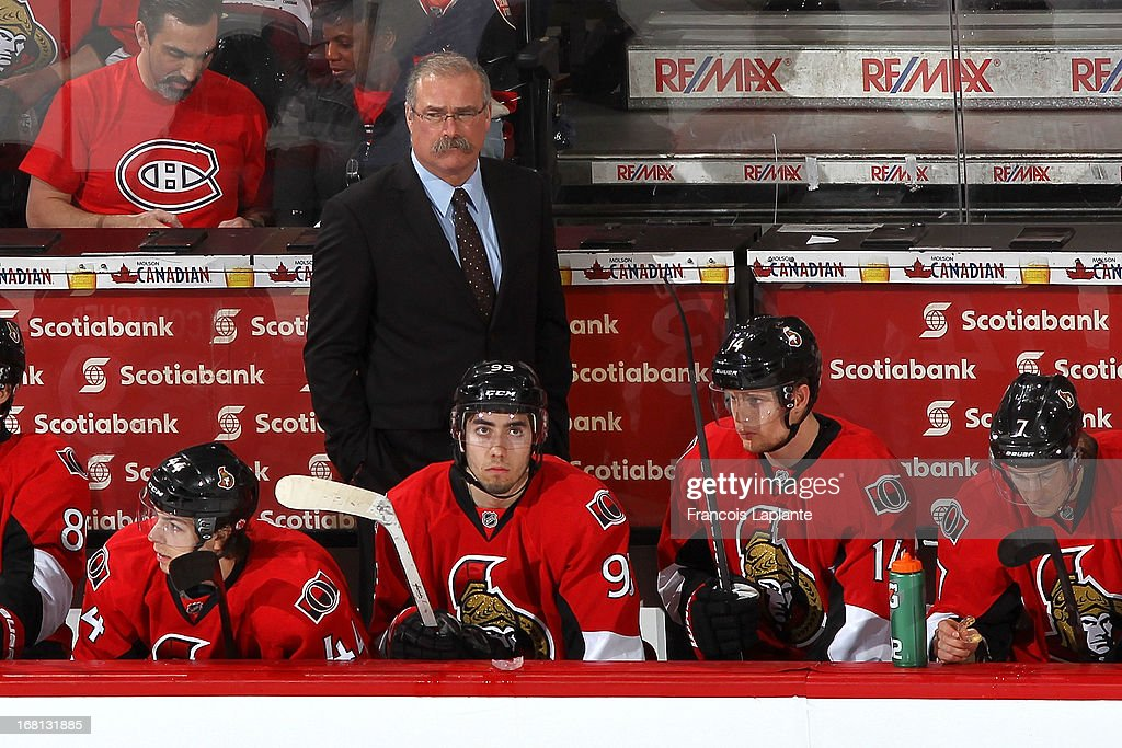 Ottawa Senators coach Paul McLean looks on during the game against the Montreal Canadiens in Game Three of the Eastern Conference Quarterfinals during the 2013 NHL Stanley Cup Playoffs at Scotiabank Place on May 5, 2013 in Ottawa, Ontario, Canada.