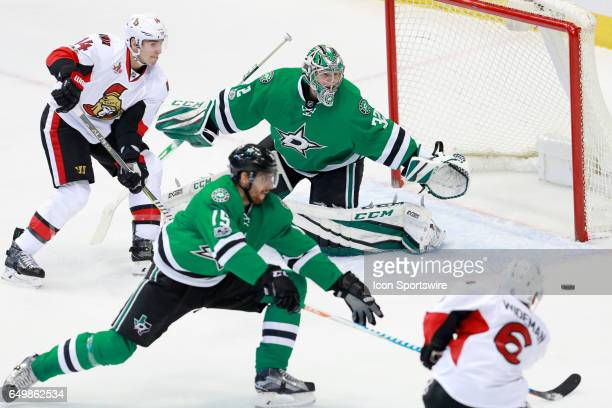 Ottawa Senators Defenceman Chris Wideman scores on a power play past Dallas Stars Goalie Kari Lehtonen during the NHL hockey game between the Ottawa...