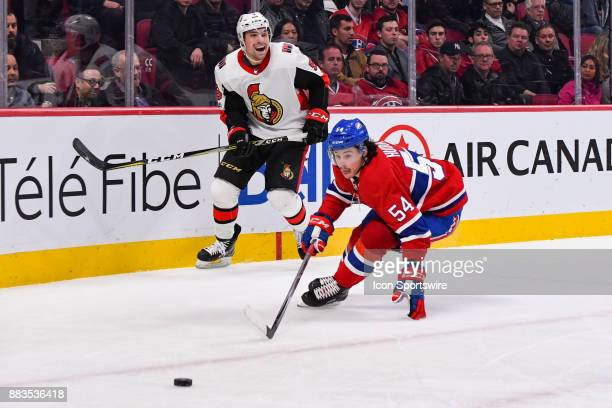 Ottawa Senators Defenceman Cody Ceci passes the puck and Montreal Canadiens Left Wing Charles Hudon turns quickly to intercept during the Ottawa...