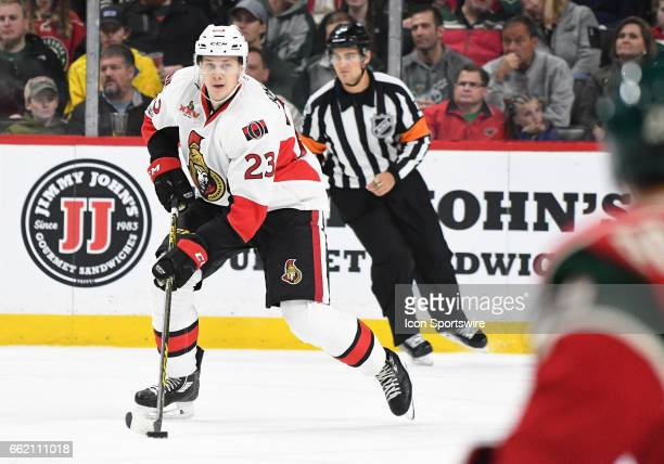 Ottawa Senators Defenceman Jyrki Jokipakka skates the puck up ice during an NHL game between the Minnesota Wild and Ottawa Senators on March 30 at...