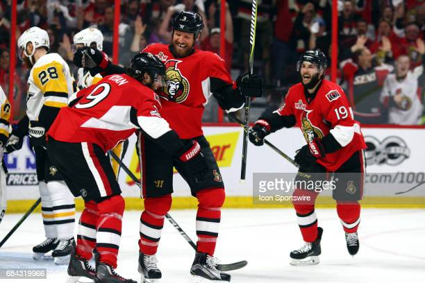 Ottawa Senators Defenceman Marc Methot celebrates his goal in the first period of Game 3 of the Eastern Conference Finals of the 2017 NHL Stanley Cup...