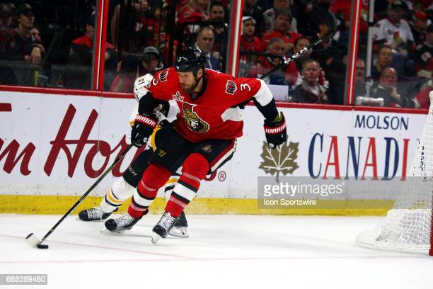 Ottawa Senators Defenceman Marc Methot moves the puck around the goal during the second period of Game 6 of the Eastern Conference Finals of the 2017...