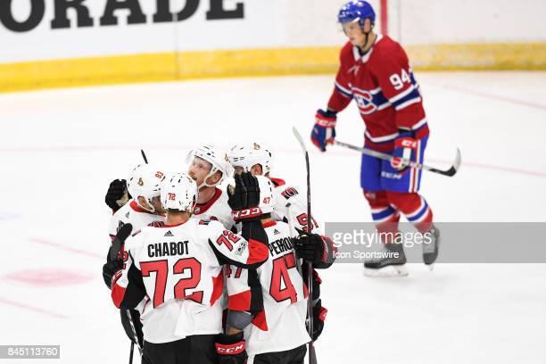 Ottawa Senators defenceman Thomas Chabot Ottawa Senators right wing Francis Perron Ottawa Senators center Logan Brown and Ottawa Senators left wing...