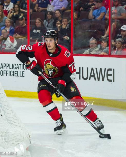 Ottawa Senators defensemen Thomas Chabot stickhandles the puck during the NHL preseason game between the Ottawa Senators and the Montreal Canadiens...