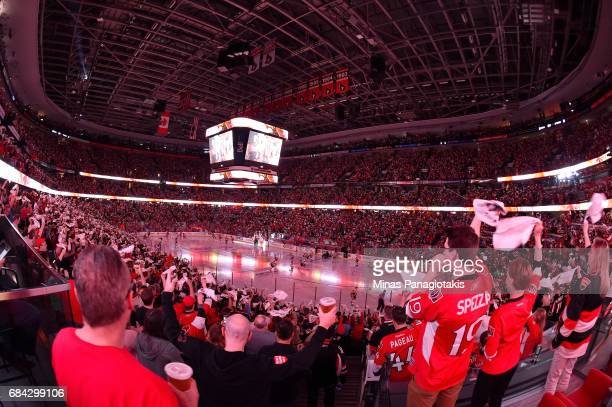 Ottawa Senators fans cheer during player introductions prior to Game Three of the Eastern Conference Final against the Pittsburgh Penguins during the...