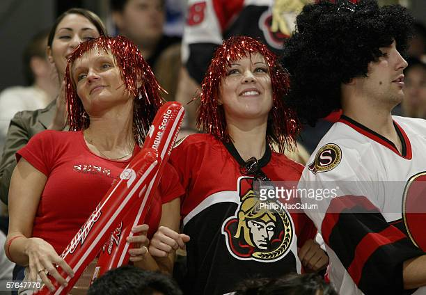 Ottawa Senators fans show their support against the Buffalo Sabres in Game 2 of the Eastern Conference Semifinals during the 2006 NHL Stanley Cup...