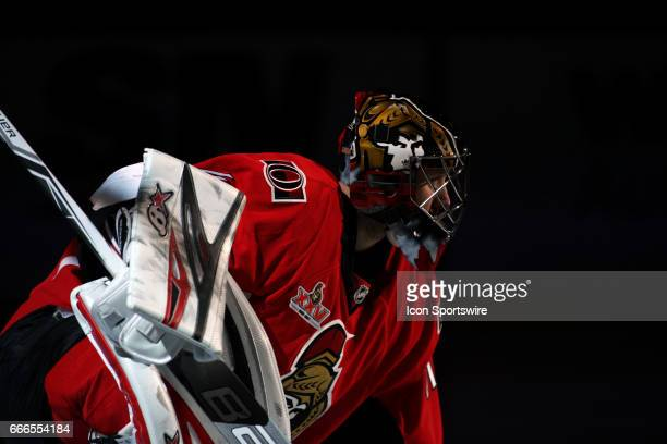 Ottawa Senators Goalie Craig Anderson gets set in goal before a game between the New York Rangers and Ottawa Senators on April 08 at Canadian Tire...
