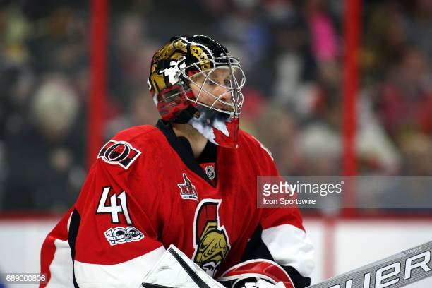 Ottawa Senators Goalie Craig Anderson gets set in the first period of game 2 of the first round of the 2017 NHL Stanley Cup Playoffs between the...