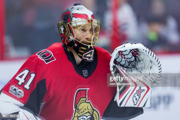Ottawa Senators Goalie Craig Anderson sets up to face shots during warmup before National Hockey League action between the Vancouver Canucks and...