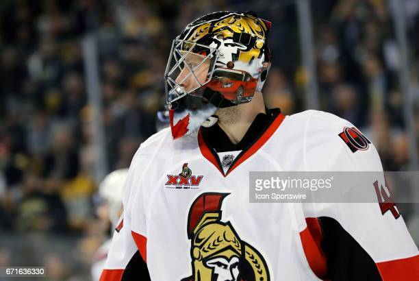 Ottawa Senators goalie Craig Anderson waits for play to resume during Game 4 of a first round NHL playoff series between the Boston Bruins and the...