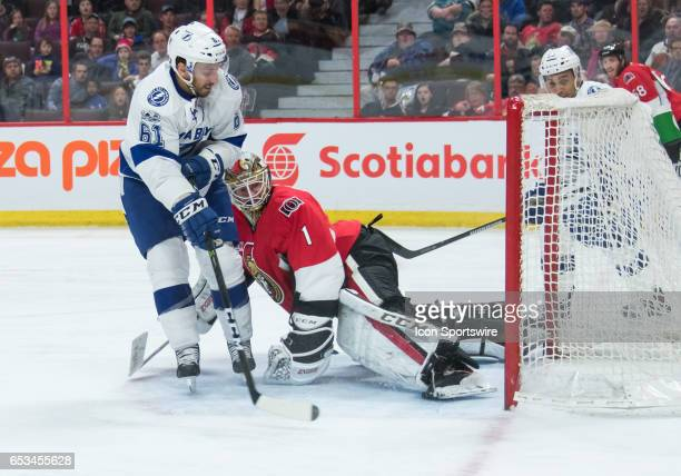 Ottawa Senators Goalie Mike Condon makes save to deny Tampa Bay Lightning Winger Gabriel Dumont a goal during the NHL game between the Ottawa...
