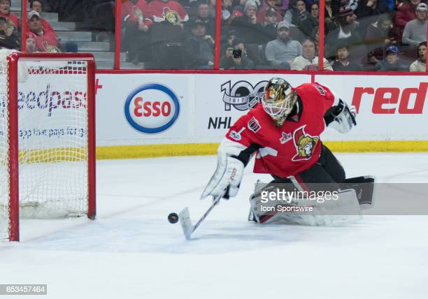 Ottawa Senators Goalie Mike Condon stretches back to make a stick save during the NHL game between the Ottawa Senators and the Tampa Bay Lightning on...