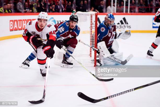 Ottawa Senators JeanGabriel Pageau vies for the puck during the NHL Global Series hockey game between Colorado Avalanche and Ottawa Senators at...